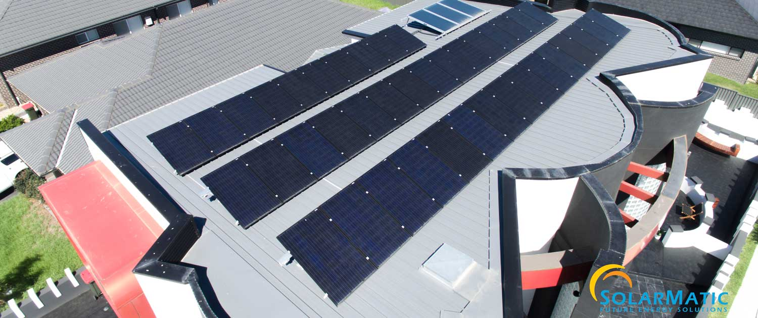 Solar installation on top of building Australia