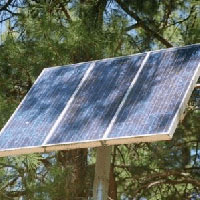 Solar panel covered by shaded