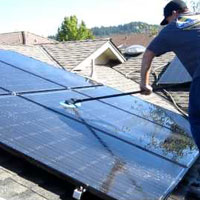 cleaning the solar panel