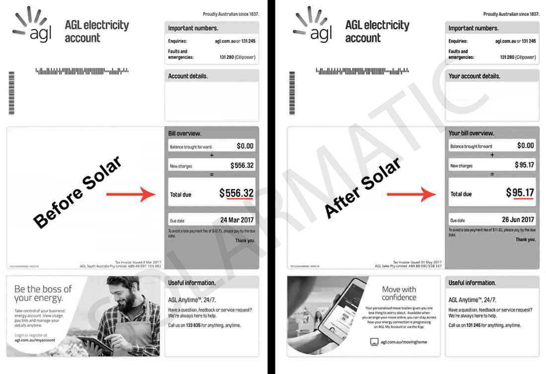 Energy bill comparison before and after solar
